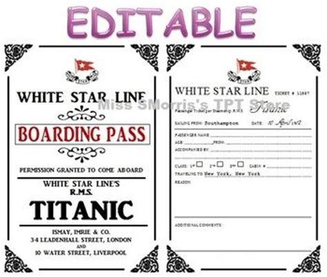printable titanic boarding pass template the world s catalog of ideas