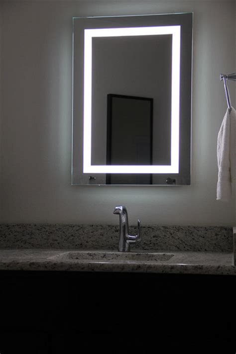 lighted mirrors bathroom lighted image led bordered illuminated mirror large