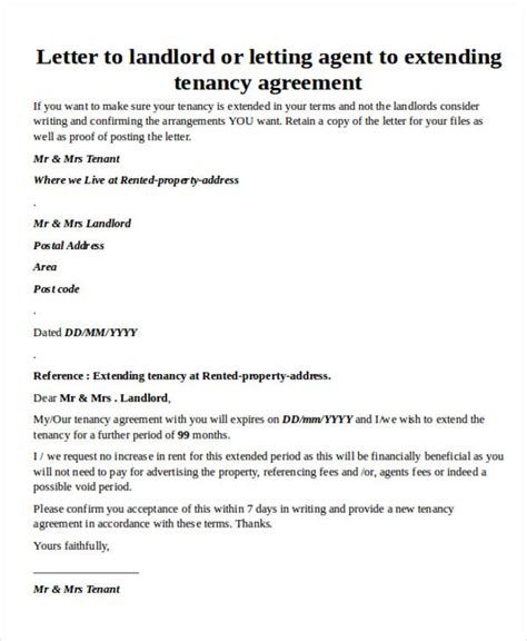 Rent Extension Letter Agreement Letter Formats
