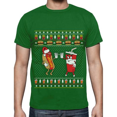 funny junk food burger hot dog ugly christmas sweater