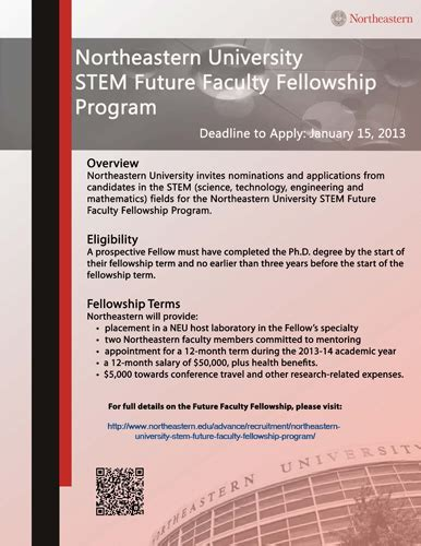 Northeastern Mba Tuition by Northeastern Stem Future Faculty Fellowship