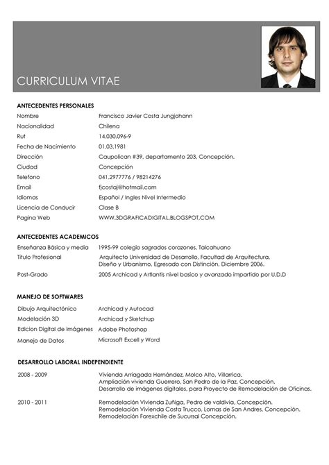 Modelo Curriculum Chileno Francisco Costa Jungjohann Curriculum Vitae
