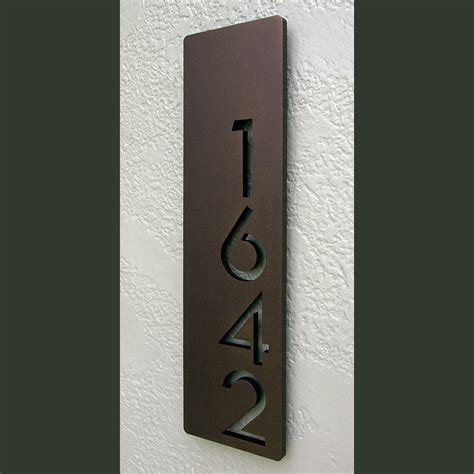 house number custom modern floating house numbers vertical offset in powder coated aluminum