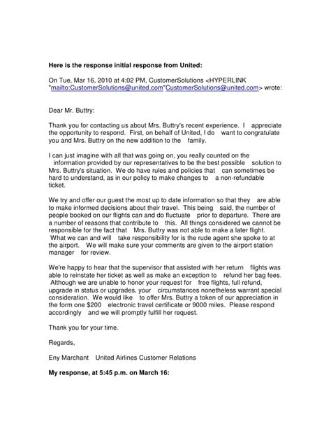 Complaint Letter Exle To An Airline United Airlines Complaint Resolved