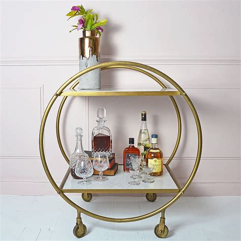 art deco drinks round brass and marble art deco drinks trolley audenza