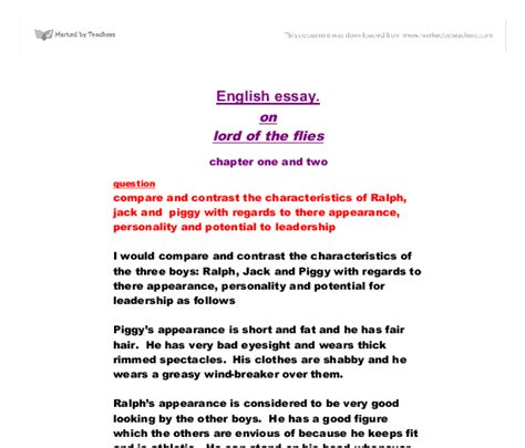 Lord Of The Flies Ralph Essay by Lord Of The Flies Compare And Contrast The Characteristics Of Ralph And Piggy With Regards