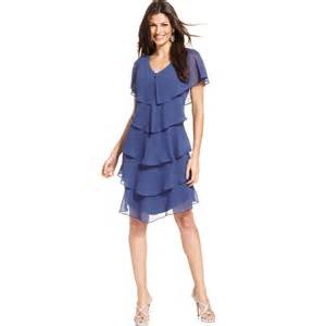 patra shortsleeve tiered dress in purple periwinkle lyst