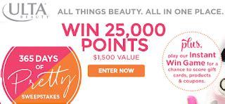 Ulta Gift Card Discount - ulta beauty gift card instant win giveaway 10 365 winners 200 win a 25 ulta gift