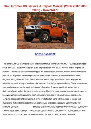 2007 hummer h3 service repair owners manuals autos post gm hummer h3 service repair manual 2006 2007 by vanthatcher issuu