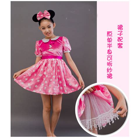 Ailubee Piyama Minnie Mouse Kidsz free shipping children pink minnie mouse costume set dress and headband dress