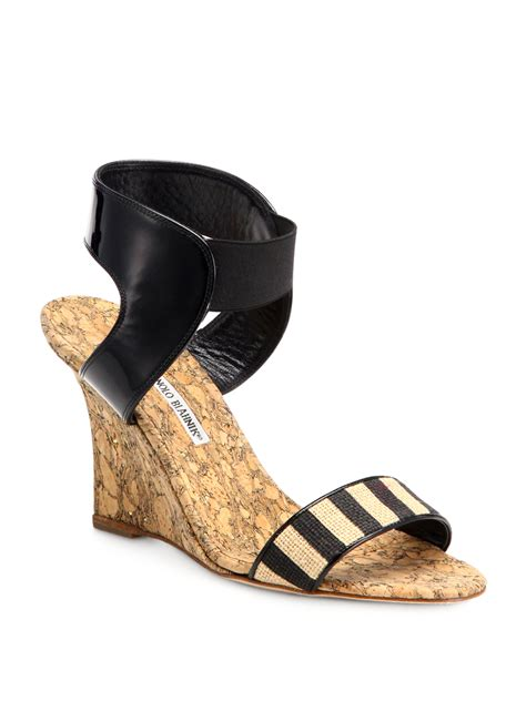 manolo blahnik pepeor striped cork wedge sandals in black
