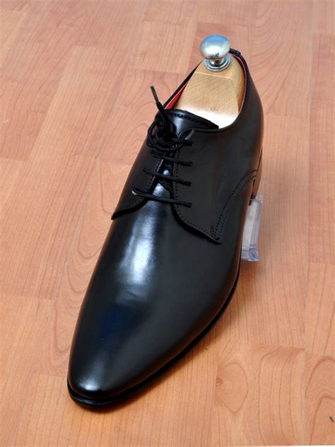Handmade Mens Clothing - handmade mens black laceup plain derby leather shoes mens