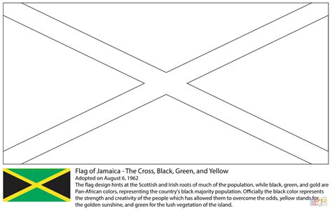 flag of jamaica coloring page free printable coloring pages