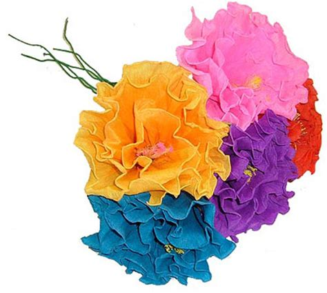 Mexican Paper Flowers - brightly colored handmade mexican paper flowers