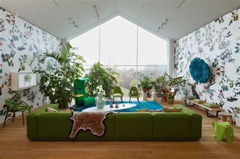 green wallpaper room beautiful modern style sofas