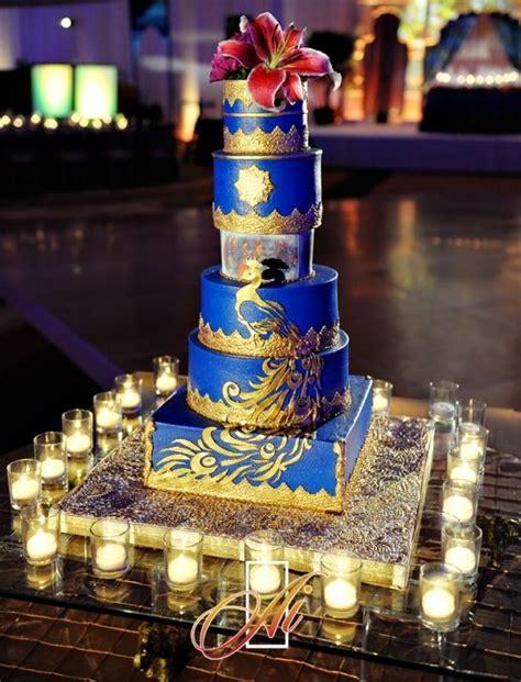 cobalt blue  gold wedding cake courtesy asaad images