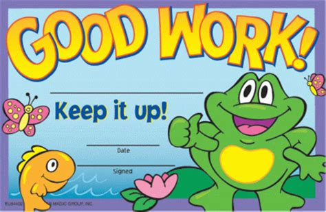 good work frog certificate for sale by smileyme