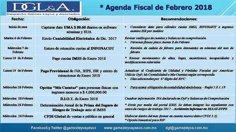 tipos de regimenes fiscales 2016 agenda de obligaciones fiscales febrero 2018 el conta