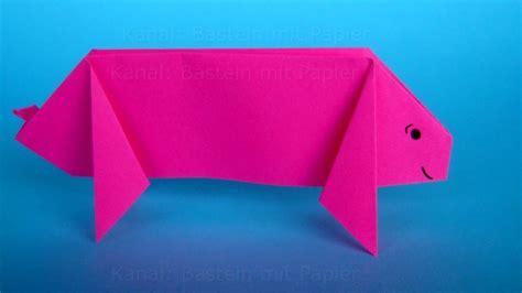 Origami Basteln Mit Papier by Origami Schwein Falten Diy Origami Tiere Basteln Mit