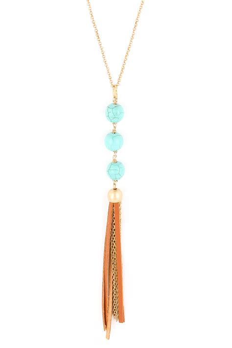 Necklace Suede Clothing Accessories 3 suede tassel semi precious pearl necklace necklaces