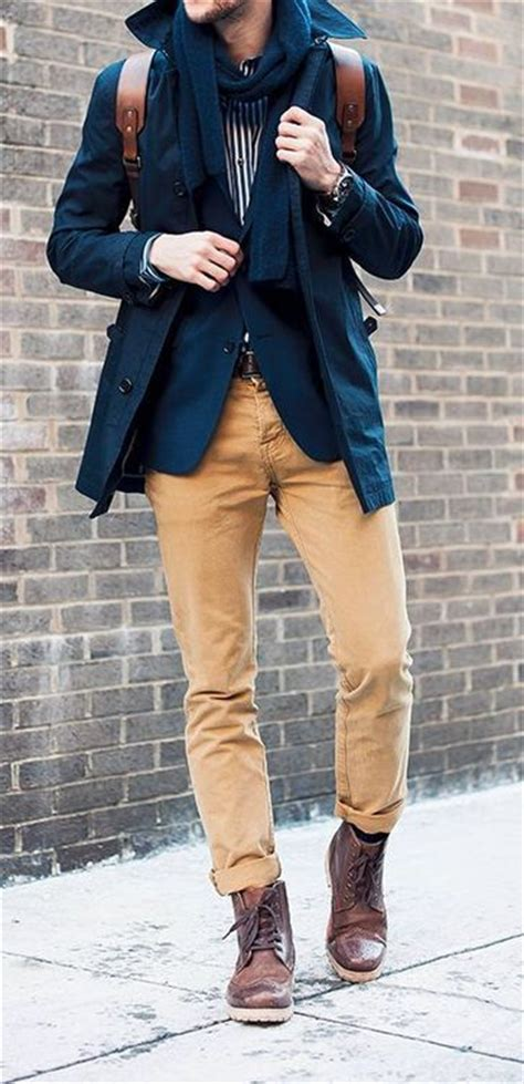 khakis and boots brown blazers and navy blazers on