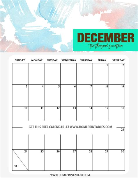 printable calendar december 2017 cute cute 2017 calendar printable watercolor background
