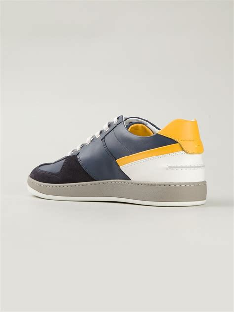 fendi shoes lyst fendi wimbledon calf leather sneakers in blue for