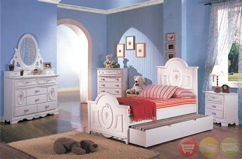 sophie girls white traditional twin bedroom set wfloral panel bedfree shipping