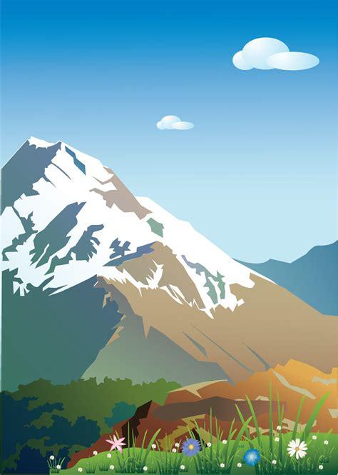 clipart montagna mountain scenery vector free vector 4vector