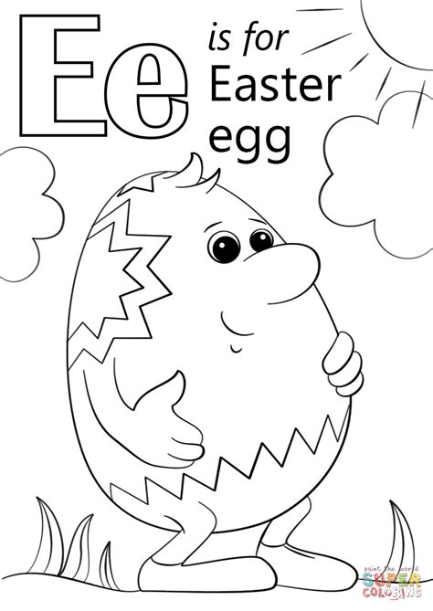 Letter E Coloring Page by Letter E Is For Easter Egg Coloring Page Free Printable