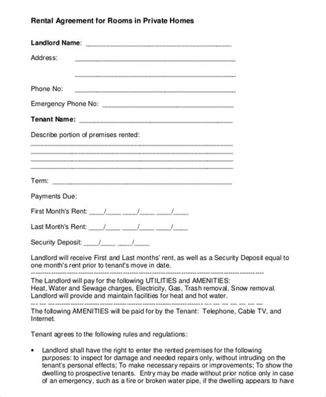 room rental agreement template 8 free word pdf free