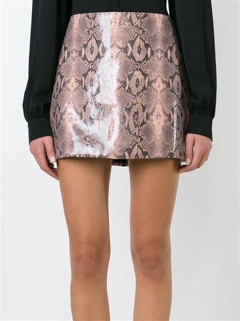 pink patterned skirt lyst au jour le jour snakeskin print a line skirt in pink