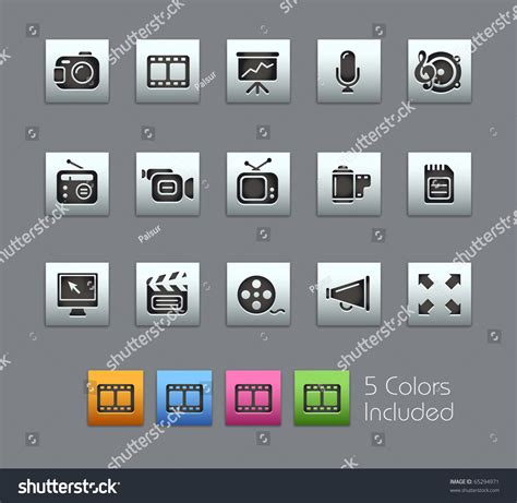 Multimedia Series multimedia satinbox series it includes 5 color versions for each icon in different