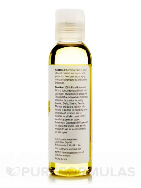 Grapeseed 100 Ml now 174 solutions grapeseed 100 4 fl oz 118 ml