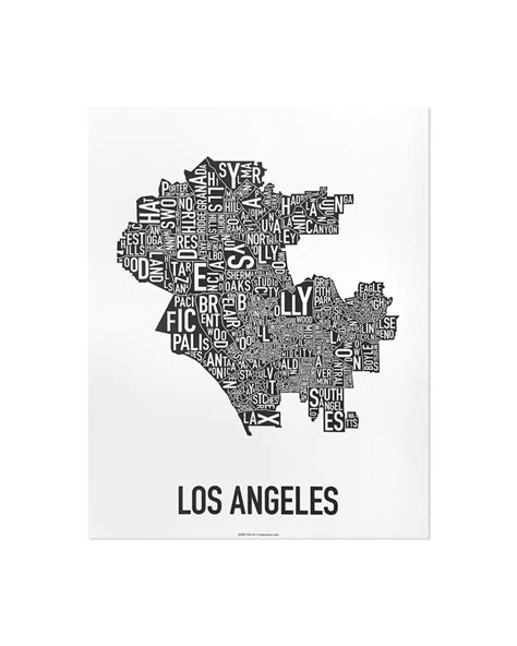 map of los angeles poster los angeles neighborhood map 11 quot x 14 quot classic black