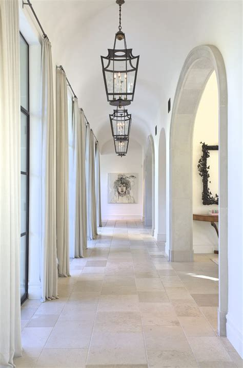 long hallway hall mediterranean with pendnat light