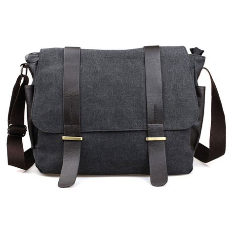 tas selempang pria korean canvas messenger bag black gray jakartanotebook
