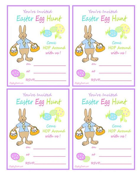 easter egg hunt printable invitation with rabbit easter