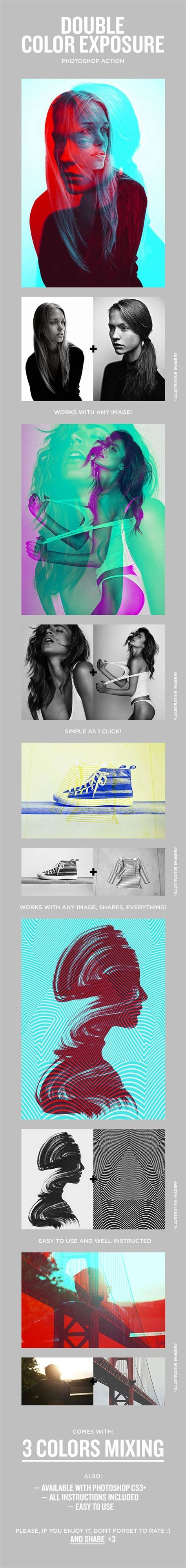 graphicriver double exposure tutorial double color exposure photoshop actions photoshop and