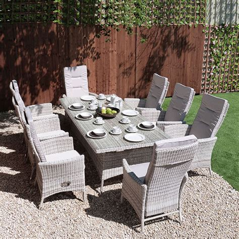 reclining garden furniture malmo 2x1 table 2 reclining 6 armchairs outside edge