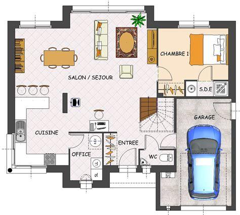 plan de maison contemporaine 4 chambres avec garage