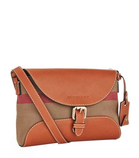 burberry small leather detail canvas check crossbody bag