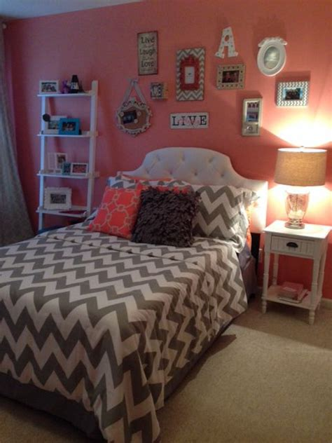 coral bedroom color schemes ashley s coral and grey bedroom home pinterest