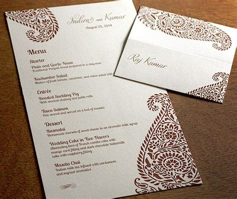 sle menu card for wedding reception 17 best images about reception menus on receptions indian wedding receptions and
