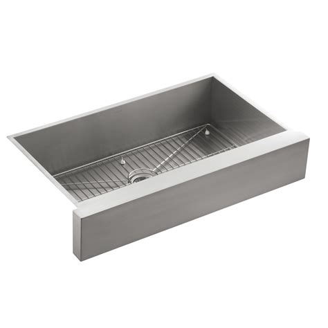 Steel Kitchen Sink Shop Kohler Vault Stainless Steel Single Basin Apron Front Farmhouse Kitchen Sink At Lowes