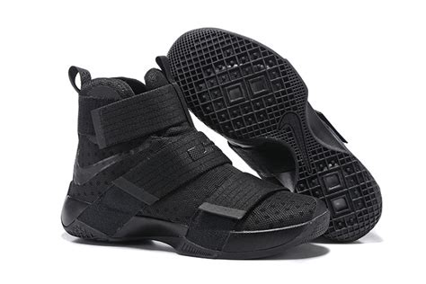 cheap lebron soldier 10 all black basketball shoes