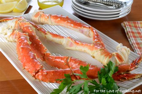 steamed king crab legs with garlic butter and lemon for