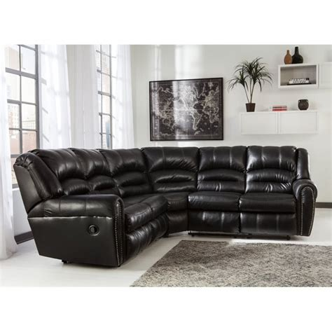 Black Sectional Sofa With Recliners manzanola 2 faux leather reclining sectional in black 51203 48 49 kit