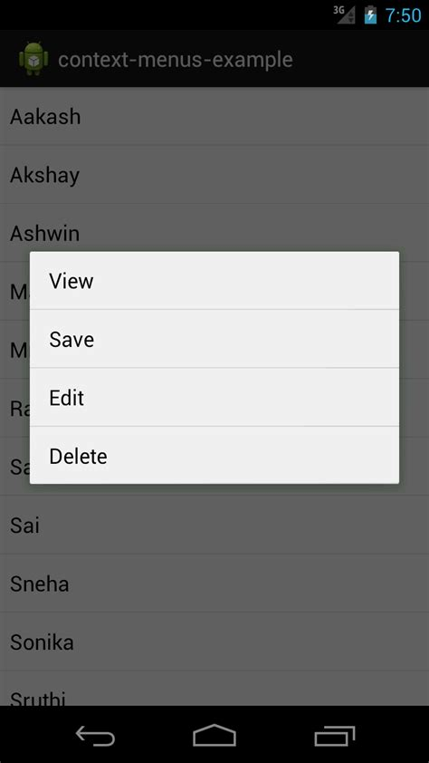 android layout context menu android practices context menus exle in android
