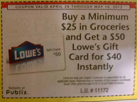 Lowes Gift Card Promo Code - 10 off 50 lowes gift card coupon at publix who said nothing in life is free